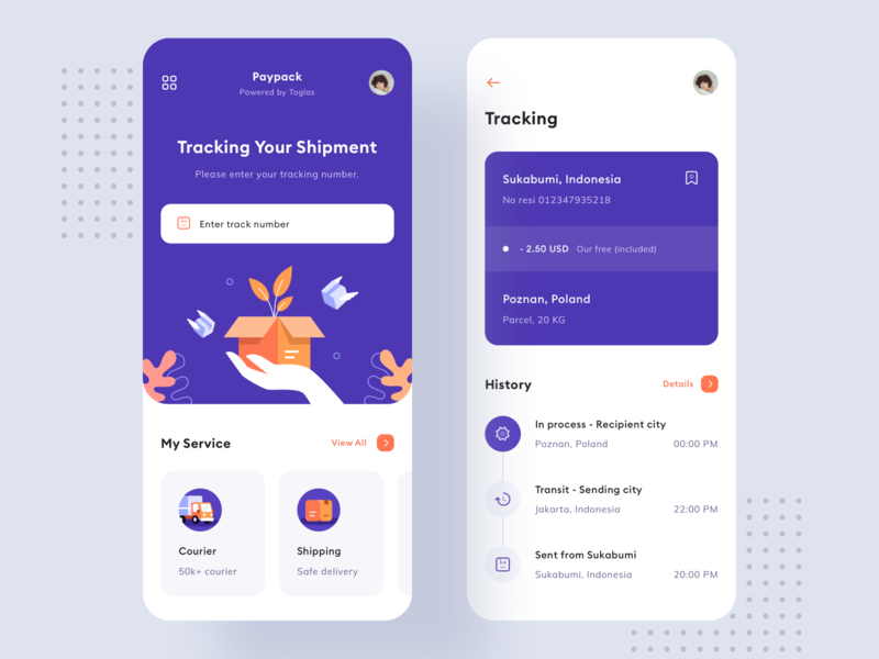 Paypack - Delivery App design product toglas shipment courier shipping track illustration delivery truck box send interface app