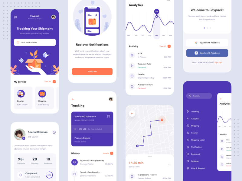 Paypack - Delivery App product truck toglas interface notification profile navigation menu shipment shipping tracking app tracking map login analytics chart illustration icon app design app