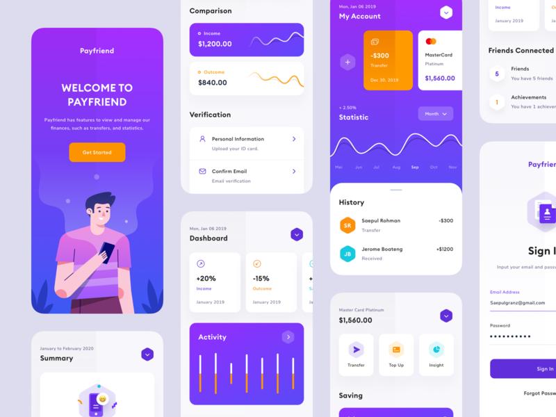 Finance App gradient card transaction branding mobile product design typogaphy ux sign in illustration finance wallet payment credit card bank