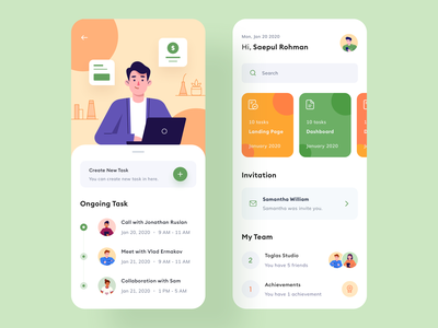 Project Management management uiux project typography character schedule work mobile product design toglas flat people icon card task manager task app illustration branding