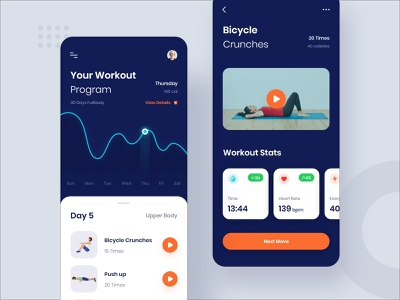 Workout Program #Exploration sports application clean iphone ios heart rate video fitness chart ui ux workout dark