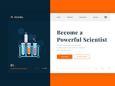 Sciedu - Science Education Landing Page #Exploration web education chemical science clean typography landing page website illustration