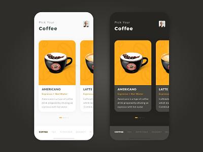 Coffeeshop carousel clean light theme light coffee shop coffeeshop coffee dark theme dark ios iphone
