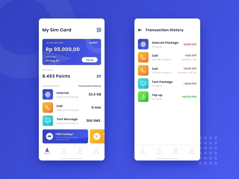 Cellular Sim Management history clean message wallet transaction finances finance mobile balance list cellular