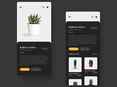 Cactus Shop ecommerce app dark app buy cactus plant dark mode dark ui ecommerce shop ecommerce ios iphone dark theme dark clean