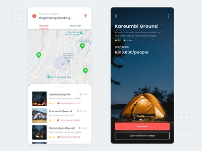 Let's Ground! #Exploration list clean map iphone app ux ui booking book maps camp fire ground forrest tent camping camp
