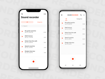 Sound Recorder for Android & iOS sound recorder user interface ios android mobile app design