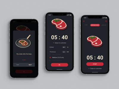 Steak Timer steak design ux ui food cooking timer mobile app design