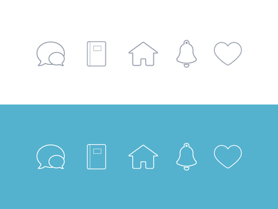 Tab Bar Icons heart bell notification home chat like icons