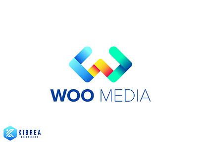 Woo Media logo modrn media player dribbble logotype logomark colorful media logo logo