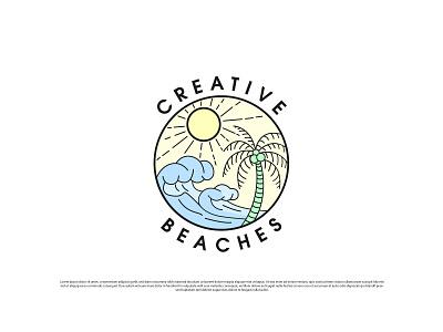 Creative Beaches logo design dribbble vector beach beach logo modern logo minimal minimalist illustration logo