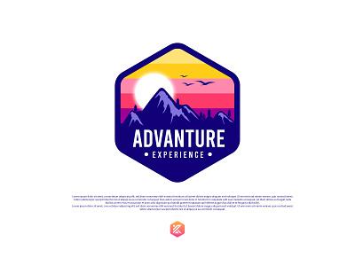 Advanture experience badge logo label design mountains round sticker patch design logo design mountain logo advanture logo illustration logo