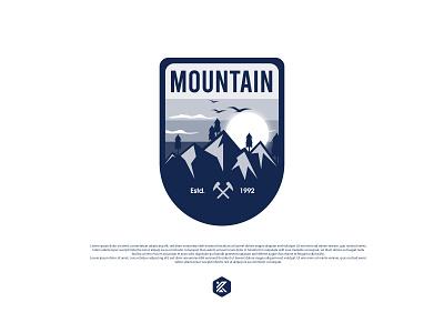 Mountain badge logo mountain logo patch logo badge logo badge design sticker design patch design illustration logo