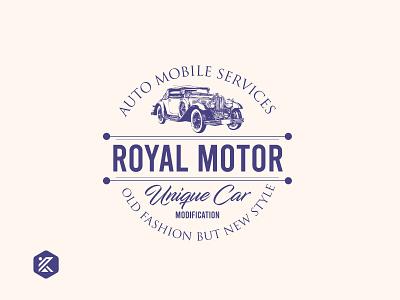 Royal motor Vintage logo vintage vintage design vintage badge vintage logo automobile logo automobile motor logo dribbble illustration logo