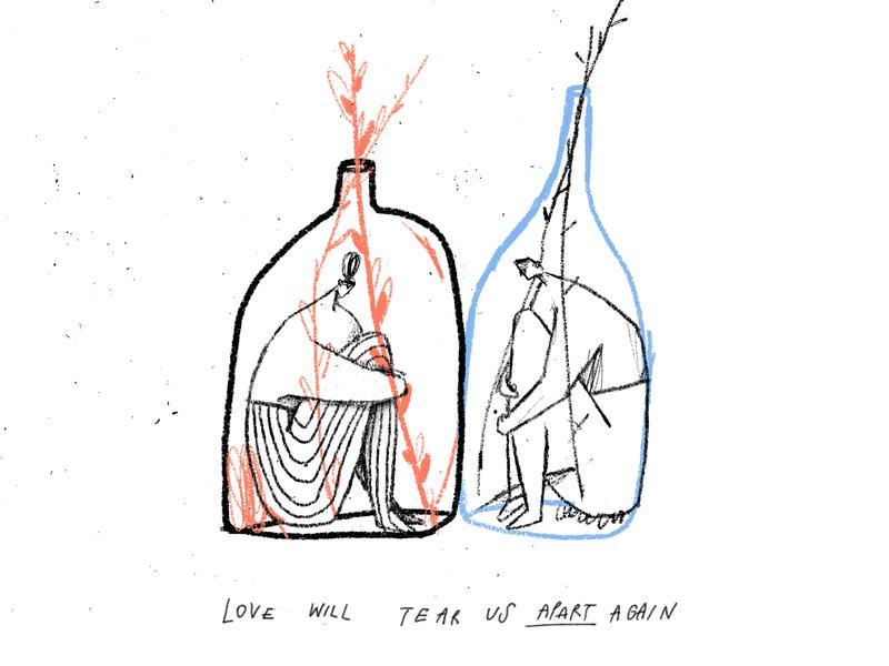 Apart quarantine love couple apart isolation texture illustration
