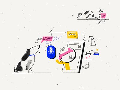 NLP for marketing purpose blog ai nlp app cat dog tooploox photoshop texture work character wrocław illustration