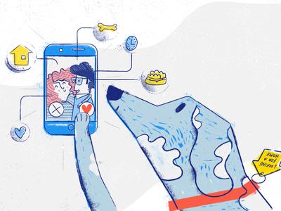 Psinder Illustration match love shelter dog illustration app psinder tooploox