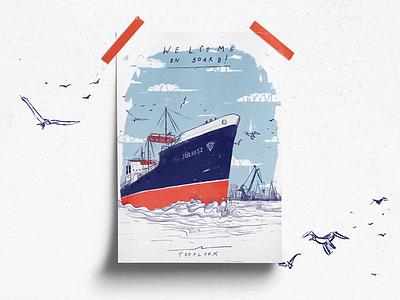 Welcome on board! tooploox shipyard illustration harbor harbour gdańsk city boat