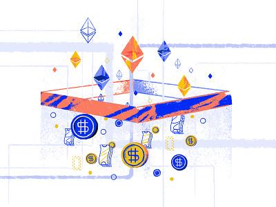 ERC20 Tokens cryptocoin coins ethereum tokens crytpo blockchain illustration tooploox