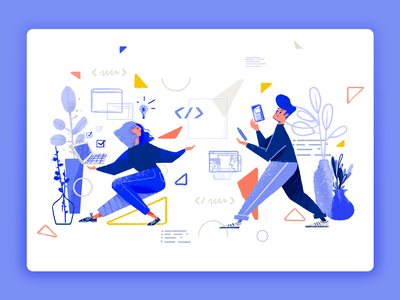 Tooploox illustration dynamic landing page products collaboration wrocław work character tooploox illustration