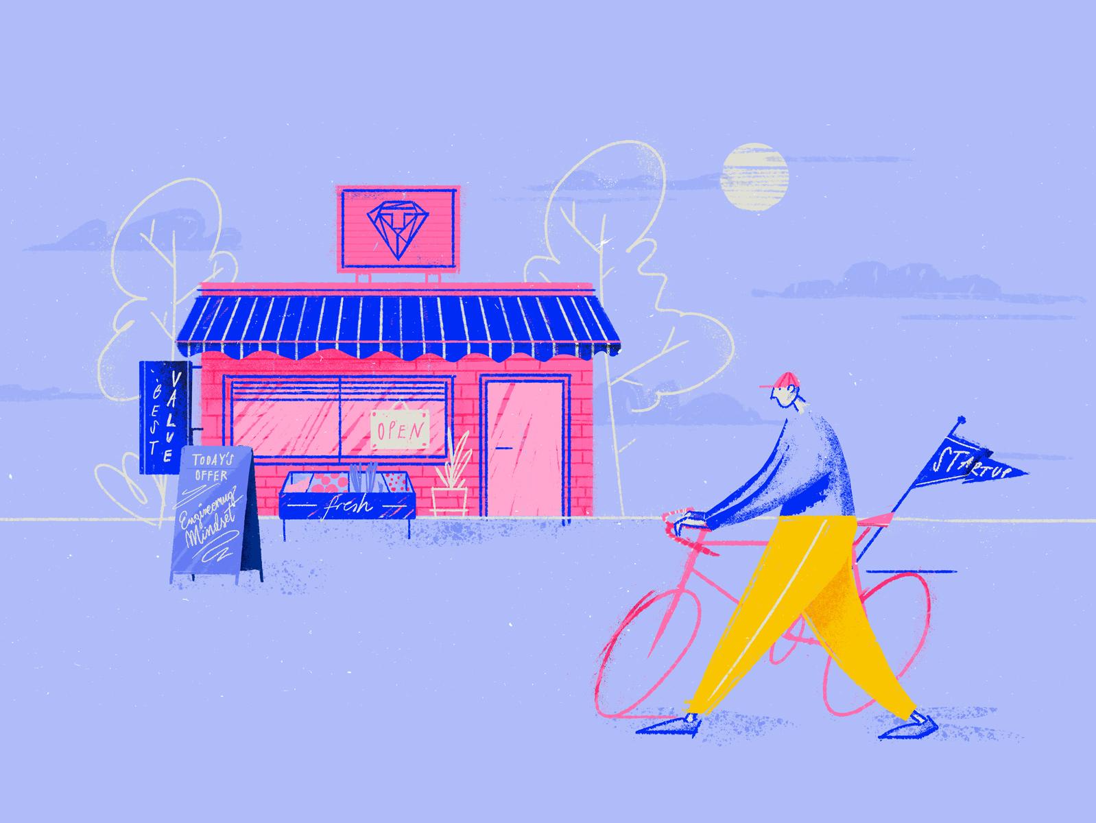 How to choose a Dev Shop brush photoshop bike shop design wrocław blog character work tooploox illustration