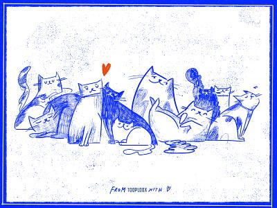 Tooploox Kitties adobe photoshop pets adopt texture cat tooploox wrocław illustration