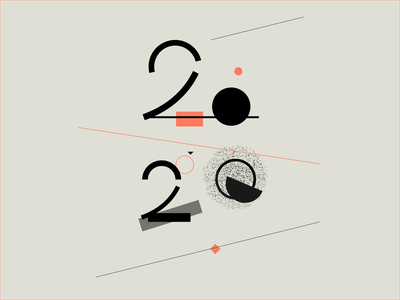*2020* geometric lettering typography new year logo minimalistic 2020