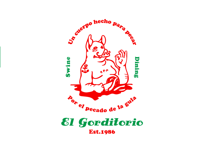 El Gorditorio t-shirt pork butcher meat print restaurant branding mexican pizzeria pizza italian spanish logo design typography vector branding illustration restaurant logo restaurant logo