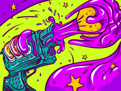 Dribbble Donut Gun! bazooka dough sprinkles jelly drawing illustration vector bright pink donut gun debut
