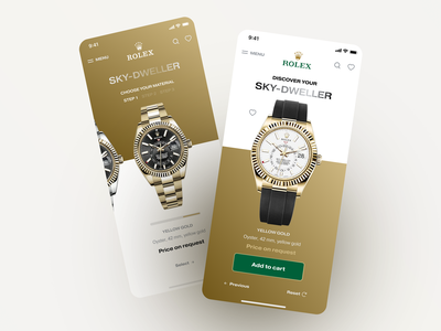 Rolex | Redesign of the Rolex configuration. gold application app design app luxury design luxury ecommerce design ecommerce web layout ui uidesign uxdesign uiux product design productdesign product page products product rolex