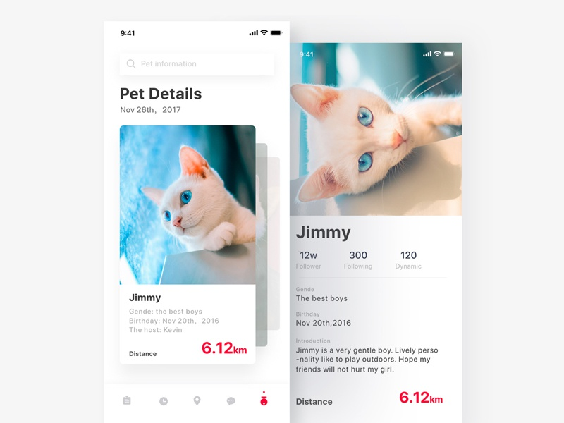 Pet Management01 management health ios11 iphonex ue ui pet app