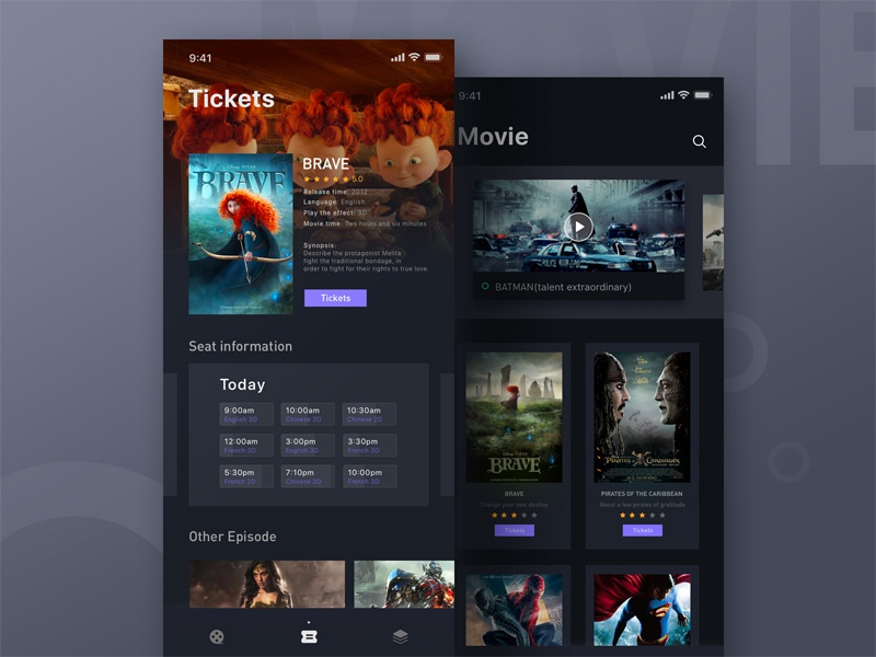 Movie card movie iphonex ios11 ux ue ui dark