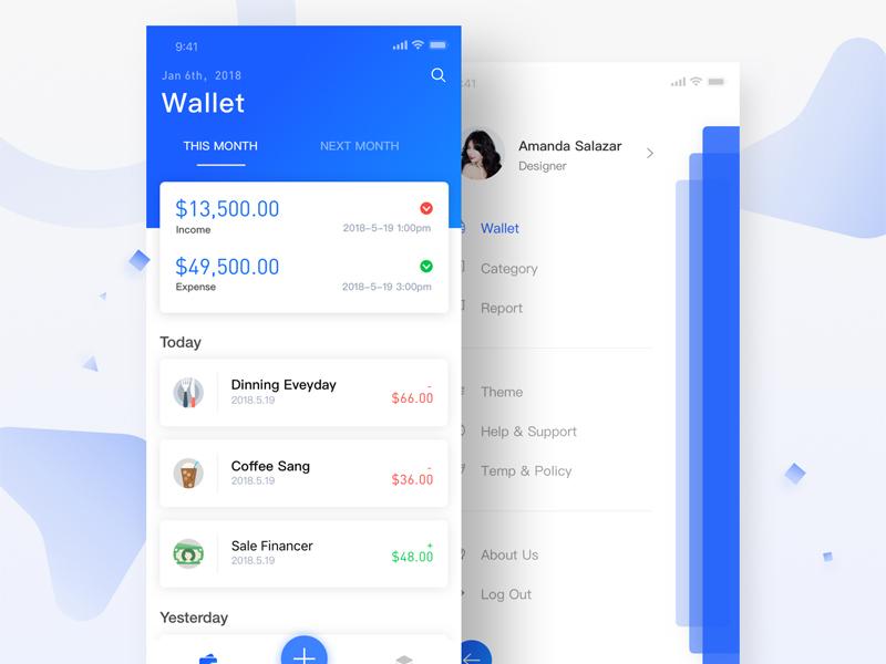 Wallet Management money blue iphonex ios11 ui app
