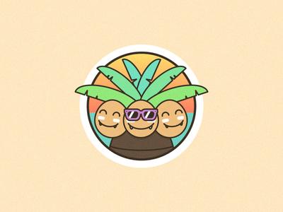 Exeggutor Badge summer vacation exeggutor vector colorful paradise beach tropical pokedex badge pokemon