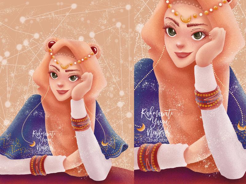 Sarah-Moon Sailor Moon beautiful cute pretty style hijab fashion sketch draws drawing draw artsy artist artwork art illustrator illustration fanart dtiys sailor sailor moon