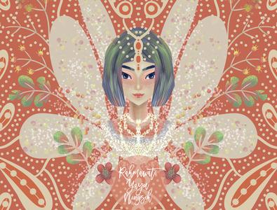 Fairy designer fashion symetry artwork cute peach coral flowers flower pattern floral girls beauty beautiful pretty illustrator digital art fairy art illustration