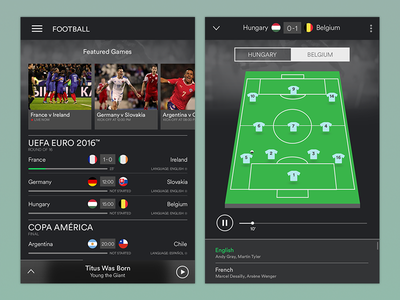 Commentary Streaming Concept for Spotify soccer ux ui spotify mobile football