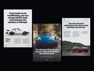 Porsche Print Ads german swiss editorial headlines copywriting bold retro graphic  design layout classic vintage typogaphy cars