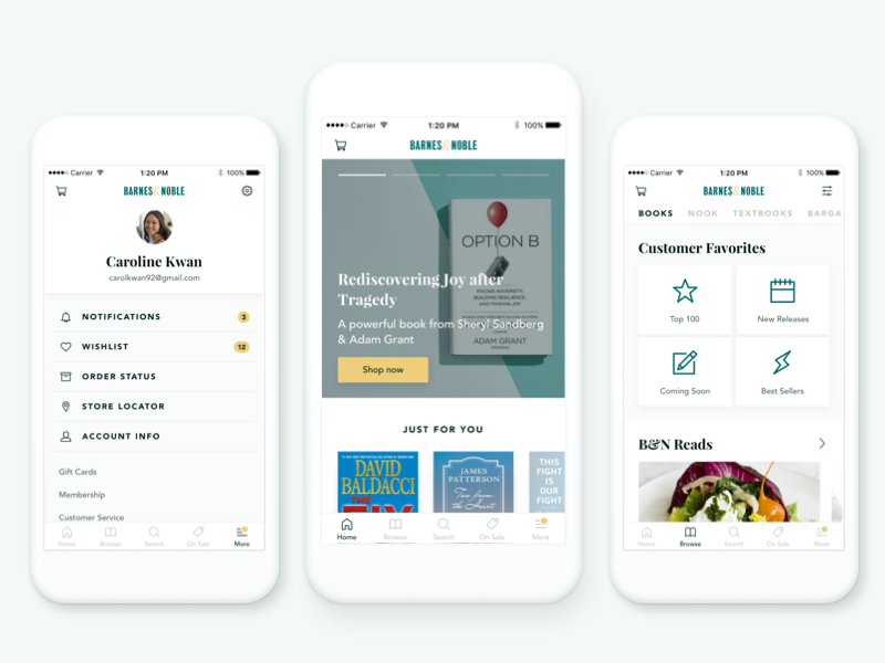 Barnes & Noble Redesign ecommerce books redesign first shot mobile