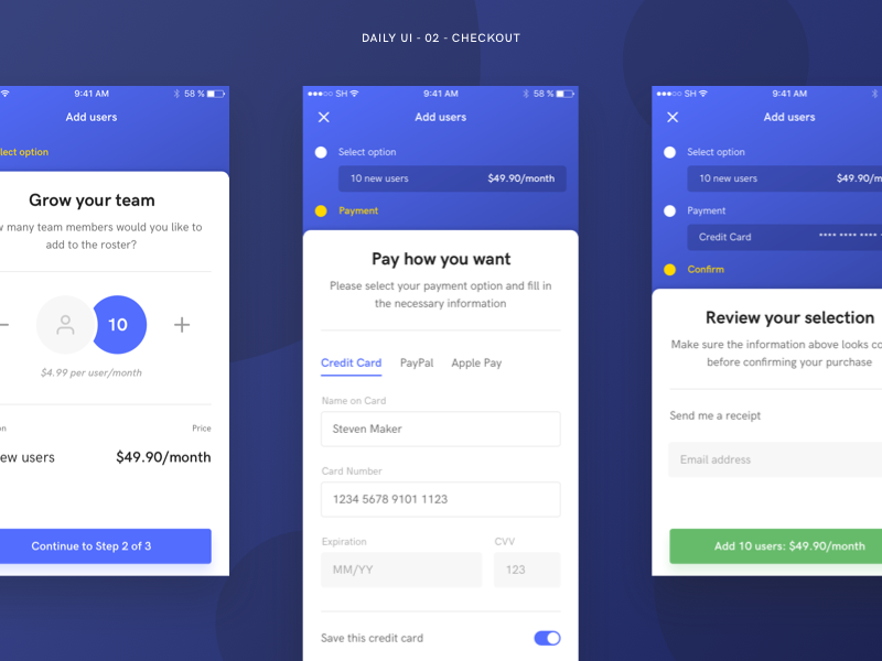 Daily UI 02  - Checkout payment ui add user checkout mobile daily ui