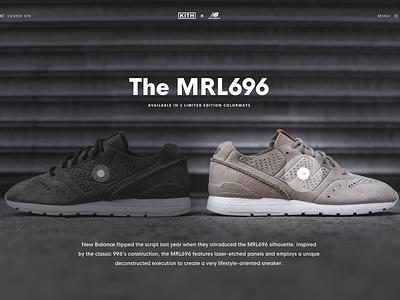 KITH x New Balance MRL696 shop commerce options details shoes product landing page web design