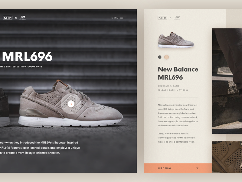 KITH x New Balance MRL696 shop commerce options details shoes product landing page web design