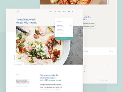 Howies Restaurant - Redesign Concept table scotland menu wine web food restaurant