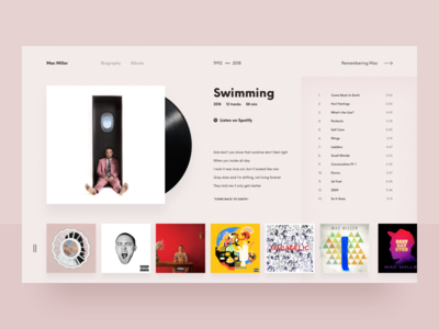 Mac Miller Concept | RIP website music app pink mac spotify album web design player music
