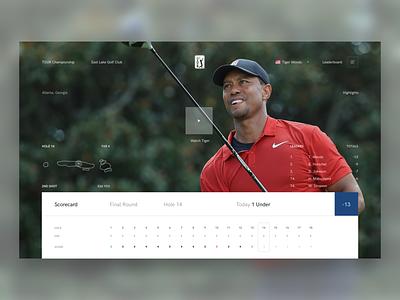TOUR Championship Live | Tiger score video live card sports golf leaderboard website dashboard ui web design