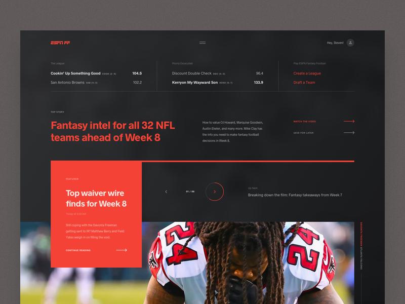 ESPN Fantasy Football   Exploration ui web design app web layout grid news football fantasy football fantasy sports espn