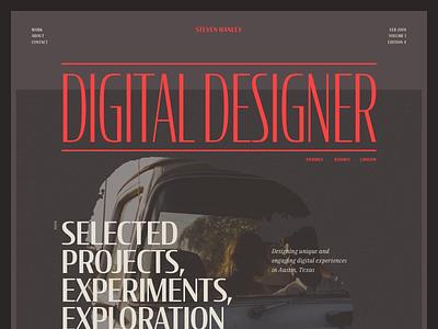 Portfolio Exploration | Zine Cover web design website editorial contact typography cover magazine print type portfolio