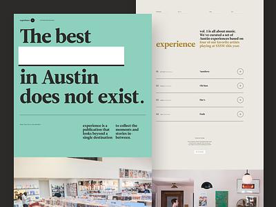 experience | Volume 1 landing page austin sxsw music editorial newspaper magazine publication web  design experience