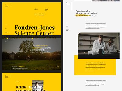 Fondren-Jones Science Center | Exploration education school university website editorial layout science dark gold yellow typography ui landing page web design