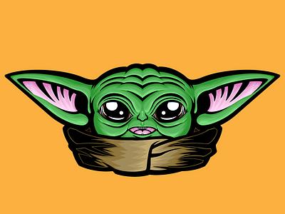 Star Wars Baby Yoda Illustration vector illustration star wars art baby yoda mando the mandalorian star wars merchandise vector art stickers product apparel design art vector illustrator illustration